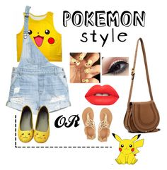 Hey pokemon!! by danielle-777 on Polyvore featuring polyvore fashion style H&M Ancient Greek Sandals Chloé Lime Crime clothing
