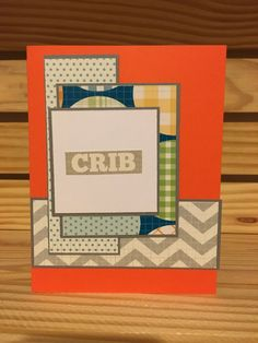Crib baby handmade note card by MerciCadeaux on Etsy