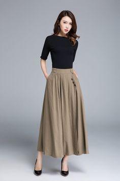 eb194dee2e Khaki skirt, linen skirt, pleated skirt, pocket skirt, button skirt,  elastic skirt, womens skirts, A line skirt, handmade skirt 1671