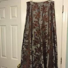Skirt Maxi grey and brown jacquard rose print skirt JS Boutique Skirts Maxi