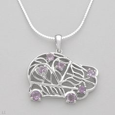 Wonderful VW Bug Necklace With 0.95ctw Genuine Amethysts in 925 Sterling Silver