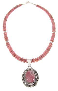 Rhodochrosite Navajo Bead Necklace Pendant