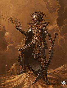 A Tomb King from Warhammer. How I picture a Lich in a desert setting. Dark Fantasy Art, Fantasy Battle, Fantasy Races, Fantasy Map, Fantasy Creatures, Mythical Creatures, Warhammer Tomb Kings, Total Warhammer, Dark Sun