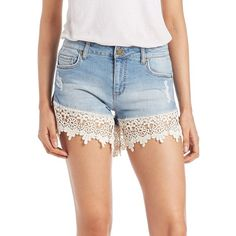 Design Lab Lord & Taylor Crochet Hem Denim Shorts ($45) ❤ liked on Polyvore featuring shorts, light wash, cotton spandex shorts, denim shorts, denim short shorts, crochet shorts and jean shorts