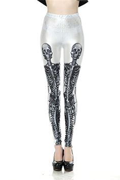 MONICAR Ladies Halloween Skeleton Printed High Waist Stretchy Yoga Leggings *** Check out the image by visiting the link.