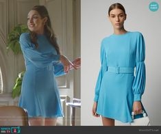 Fallon's blue gathered sleeve dress on Dynasty Fashion Tv, Fashion 2020, Girl Fashion, Fashion Dresses, Preppy Outfits, Retro Outfits, Spring Outfits, Donna Suits, Der Denver Clan