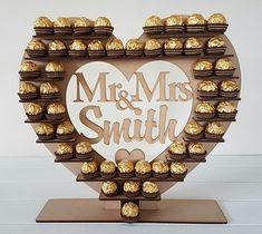 Personalised Ferrero Rocher Heart Wedding Display Stand Centrepiece Tower Mr&Mrs