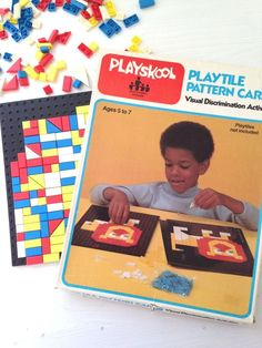 Vintage Playskool play tiles and pattern cards educational toy visual discrimination toy by fuzzymama on Etsy