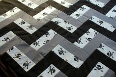 Rail Fence quilt top. I like the black, white, and grey.
