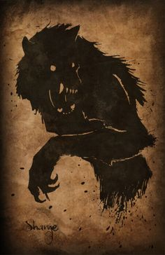 Ink Wolf by theartofshame. Fantasy Creatures, Mythical Creatures, Werewolf Art, Legends And Myths, Vampires And Werewolves, Scary Art, World Of Darkness, Wolf Tattoos, Creature Feature