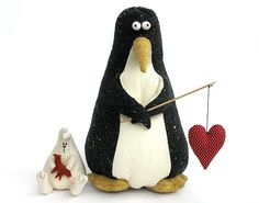 penguin with heart fishing pole