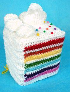 rainbow cake tissue box cover
