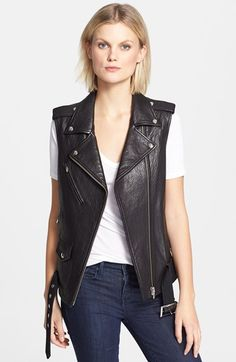 'Castor' Classic Textured Leather Moto Vest - Google Search
