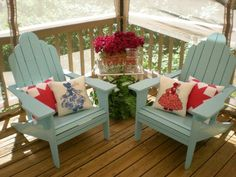 In Your Deck Easily & Inexpensively Pillows- I can't believe I never thought to make quilt block pillows.Pillows- I can't believe I never thought to make quilt block pillows. Deck Chairs, Garden Chairs, Adirondack Chairs, Lounge Chairs, Dining Chairs, Porch Furniture, Rustic Furniture, Outdoor Furniture Sets, Funky Furniture