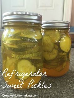 Easy recipe for refrigerator sweet pickles that does not require any canning.