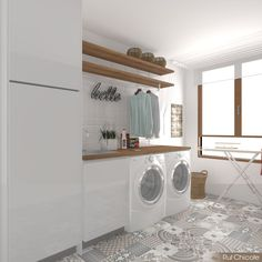 Trends in the interior design of the living room are more and more focused on sustainability and tho Modern Laundry Rooms, Laundry Room Layouts, Laundry Room Remodel, Farmhouse Laundry Room, Laundry Decor, Laundry Room Organization, Laundry Room Design, Laundry In Bathroom, Bathroom Interior