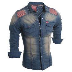 Bleach Wash Turn-Down Collar Stars Print Long Sleeve Stripe Splicing Men's Denim Shirt