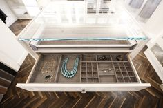 From drawer dividers to tie racks, shoe storage systems to hampers, our array of customizations work together to meet the most unique organization needs. Jewelry Drawer, Jewelry Storage, Shoe Storage, Storage Ideas, Shoe Rack With Shelf, Shelf Dividers, Tie Rack, California Closets, Closet Accessories