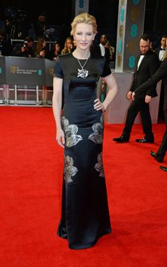 Cate Blanchett was as elegant as ever on the BAFTAs red carpet in black gown from Alexander McQueen detailed with metallic silver flowers.