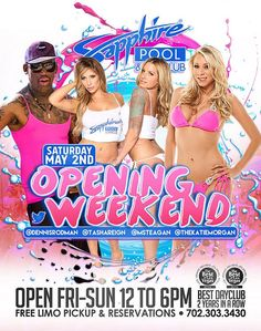 Dennis Rodman, Adult Stars Teagen Presley, Tasha Reign and HBO's Katie Morgan to Host Opening Weekend Events at Sapphire Pool & Day Club
