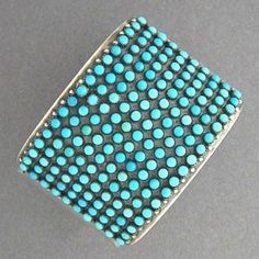 Native American Navajo LRG Sterling Silver Turquoise Cluster Bracelet