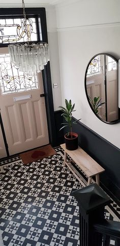 Absolutely adore our new hallway painted with with it goes perfectly with our original Edwardian hall tiles. The mirror is by from the chandelier is a vintage murano chandelier. Dado Rail Hallway, Hallway Paint, Tiled Hallway, Hallway Flooring, Modern Hallway, Hallway Mirror, Foyer, Small Entrance Halls, Mosaics
