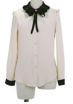 Beige Lapel Long Sleeve Single Breasted Bow Chiffon Shirt