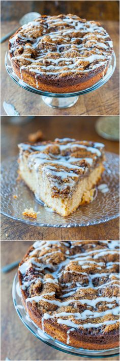 Cinnamon Roll Coffee Cake with Cream Cheese Glaze - The great taste of cinnamon rolls, minus any of the waiting or work! Easy recipe at averiecooks.com
