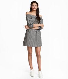 Vestido hombro descubierto   Negro/Cuadros blancos   Mujer   H&M CO