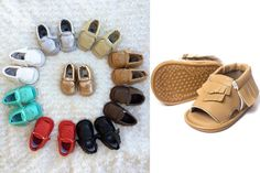 We all know the right pair of shoes completes the perfect outfit! That includes your kiddos cute clothes! Add a pair of these open toe sandal moccasins to their wardrobe! 100% real leather with skid resistant rubber soles, great for walking babes! Available in 9 different colors. Pick your favorite color at pickyourplum.com