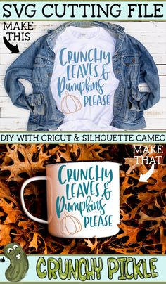 Crunchy Leaves and Pumpkins Please svg file. Use it with your Cricut or Silhouette Cameo to make diy crafts such as shirts, home decor items, vinyl decals and more. home diy crafts Crunchy Leaves & Pumpkins Please SVG Diy Shirt, Diy Tank, Fall Shirts, Silhouette Cameo Projects, Vinyl Crafts, Svg Cuts, Design Bundles, Fall Crafts, Svg File