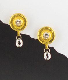 Diamond briolette earrings, 24kt gold.  Gurhan at Union Street Goldsmith, San Francisco.