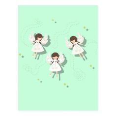 Christmas angels postcard - merry christmas postcards postal family xmas card holidays diy personalize