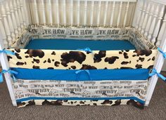 Western Crib Bedding Cow Print Set Brown Cowboy Baby Ryder Lee Ross Pinterest Sets And