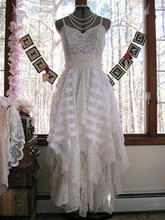 Cream Off White tattered alternative bride boho by LilyWhitepad