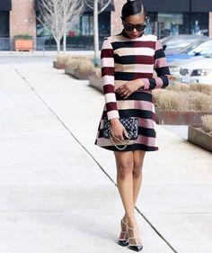 Studded heels and stripes and everything nice, we're loving @awedbymoni's #ootd | Shop her look with www.LIKEtoKNOW.it | www.liketk.it/2aMj5 #liketkit