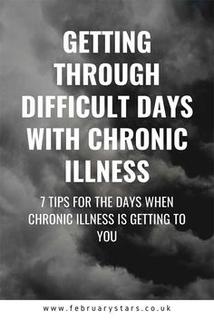 7 Tips For Getting Through Difficult Days With Chronic Illness : Living with chronic illness is challenging. Read my 7 tips for getting through the difficult days with chronic illness. Chronic Illness Quotes, Stress Causes, Chronic Fatigue Syndrome, Fatigue Symptoms, Invisible Illness, Autoimmune Disease, Lyme Disease, Multiple Sclerosis, Chronic Pain