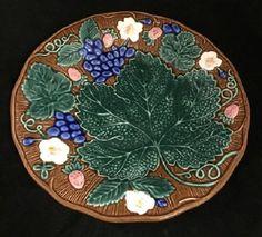 Feuille De Raisin By Fitz & Floyd Majolica Floral Fruit No Trim Plate #FitzFloyd