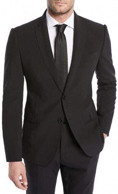 335f3084284 High-quality Construction 2 Button Notch Lapel Side Vented Black on Solid  Black Ultimate Tailoring Wool in 2019