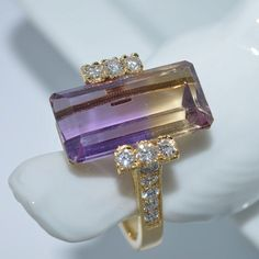 Ametrine and Diamond Ring 18k Yellow Gold by JdotC on Etsy, $850.00