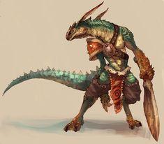 Ban-Jingshen Family She Reptile Fantasy Art Men, Fantasy Races, Fantasy Warrior, Fantasy Rpg, Fantasy Inspiration, Character Inspiration, Character Portraits, Character Art, Illustration Fantasy