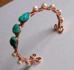 Wire Wrapped Cuff Bracelet - Genuine Turquoise - Freshwater pearl - Adjustable #otb