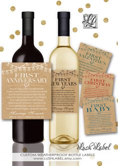 Custom Marriage Milestones Wine Labels for Bridal Shower Gift - Available at Boardman Printing