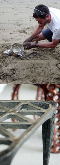 British designer Max Lamb Making of 'Pewter Stool' Cast in the sand of a beach in Cornwall