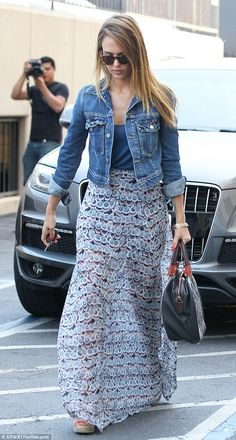Jean jacket with maxi skirt
