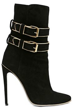 Black and gold Balmain Fall-Winter 2013 heeled suede booties.