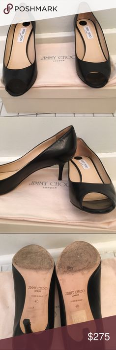 Jimmy choo low heel peep toes Low black peep toe heels. Black comfort stickers do not come off at the heel inside the shoes. Comes with dust bag and a jimmy choo box (not the original one, this box comes from my jimmy choo wedges). Please refer to photos for signs of wear. Great condition. Jimmy Choo Shoes Heels