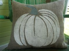 FALL HALLOWEEN White and Gray PUMPKIN Fun Painted Burlap Throw Accent Pillow Home Decor on Etsy, $24.00