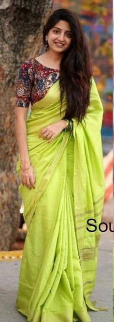 Lime green cotton sari paired with a multicolor patterned blouse. Kalamkari Blouse Designs, Saree Blouse Patterns, Blouse Neck Designs, Kalamkari Blouses, Kalamkari Saree, Plain Saree, Simple Sarees, Stylish Sarees, Saree Look