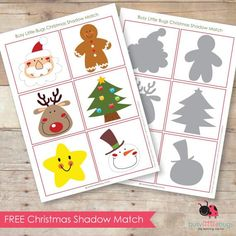 Free Christmas Shadow Matching Cards or 2 of each and play pelmanism Printable Christmas Games, Christmas Activities For Kids, Preschool Christmas, Toddler Christmas, Noel Christmas, Winter Christmas, Christmas Themes, Christmas Crafts, Montessori